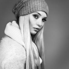 beautiful whiteheaded girl in a sportwear, fashion style