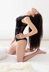 sensual girl in white bed