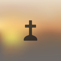 tombstone icon on blurred background