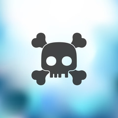 skull icon on blurred background