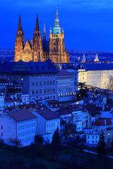 Night winter Prague City with the gothic Castle, Czech Republic