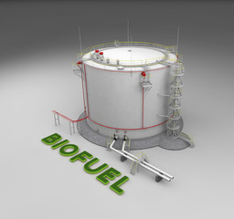 Biofuel storage tank on gray background