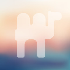 camel icon on blurred background