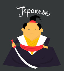 Japanese man character monk or samurai, citizen of Japan country