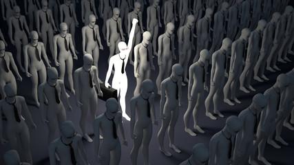 Luminous person. Symbol of individualism. Business
