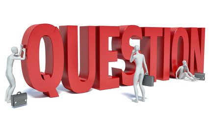 3d white people important question, isolated white background