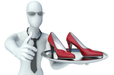 3d man holding shoes on a tray