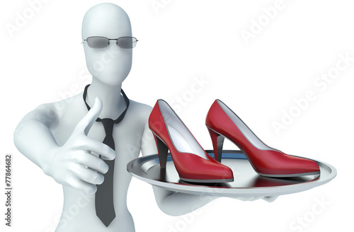 canvas print picture 3d man holding shoes on a tray