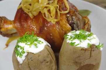 appetizing knuckles of pork