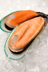 Close up of fresh boiled mussels