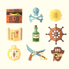 Pirate icons. Vector illustration.
