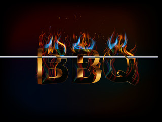 BBQ Barbecue Menu, Party invitation flame and smokin effect