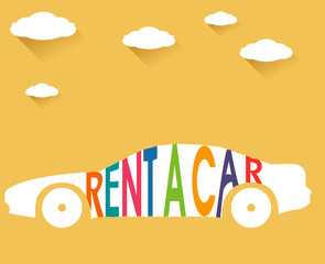 rent a car, flat color with clouds  long shadow