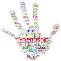 Conceptual child education hand print word cloud isolated