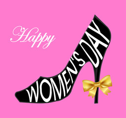 Happy Women's Day Design Element,  background with ladies shoe