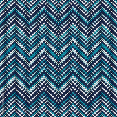 Zigzag Knitted Pattern. Seamless Background - 77866247
