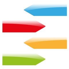 four color glossy web arrows vector