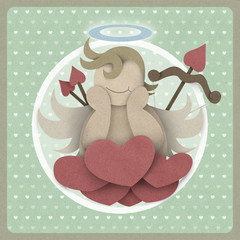 Cupid sit on heart love could on retro background, love concept