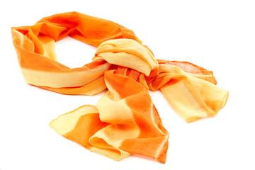 Orange scarf or shawl on white background.