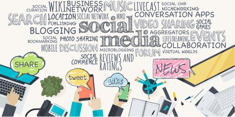 Flat design illustration concept for social media