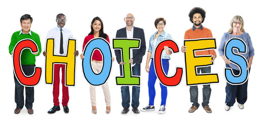 Multiethnic Group of People Holding Letter Choice Concept