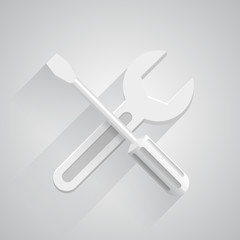 Funny tools on white background