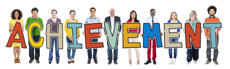 Multiethnic People Holding Letter Achievement Concept