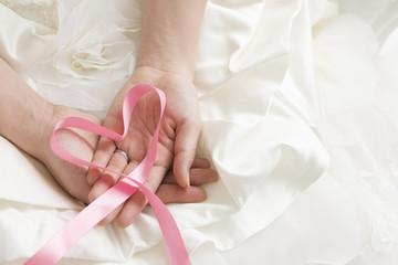 Wedding dress and pink heart