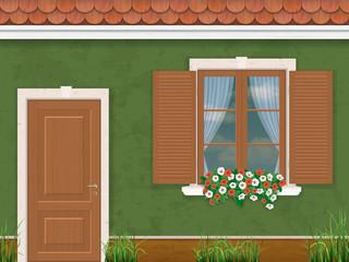 green wall door and window