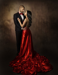 Couple in Love, Lovers Woman and Man, Classic Suit and Dress
