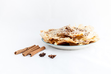 Moroccan dessert isolated on white background