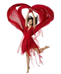 Woman Dancing With Heart Shaped Fabric Cloth, Beautiful Girl