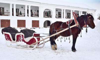 horse-drawn sleigh in