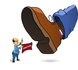 Sanction For Russia Vector white background