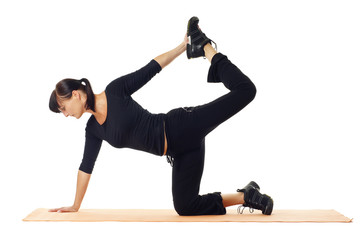 Frau macht Gymnastik