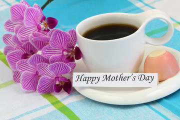 Happy Mother's Day card with pink orchid and cup of coffee