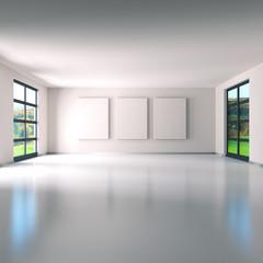 Raum mit drei Leinwänden