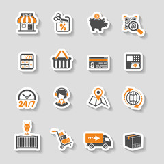 Internet Shopping and Delivery Sticker Icon Set