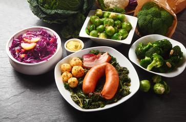 Gourmet German Recipe with Fresh Veggies on Sides