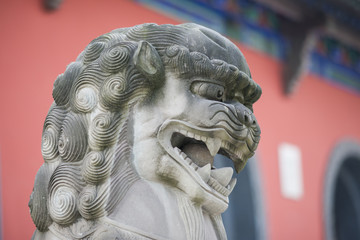Chinese Lion Statue closeup