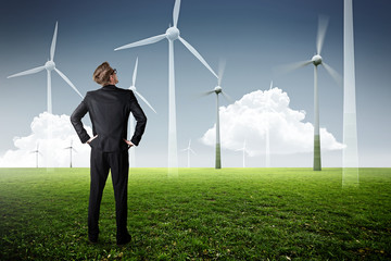 Man planning wind power plants