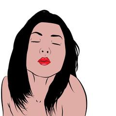Mujer besando sobre fondo blanco