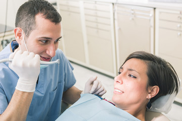 Dentist Scaring Patient with the Drill.