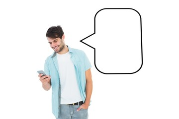 Composite image of happy casual man sending a text message