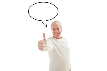 Composite image of happy mature man showing thumbs up to camera