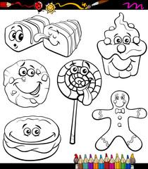 sweets set cartoon coloring book