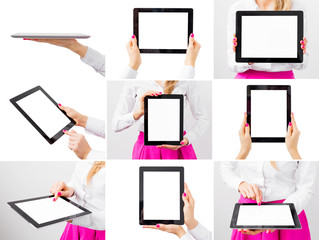 Woman holding ipad, collage of different photos