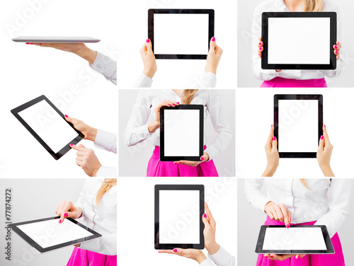Woman holding ipad, collage of different photos - 77874272