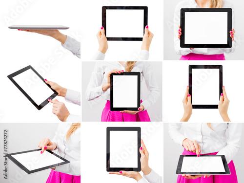 Leinwanddruck Bild Woman holding ipad, collage of different photos