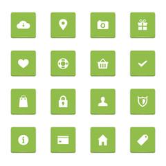 A set of 16 green web icons